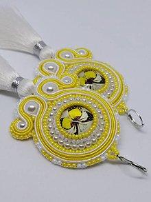 Náušnice - Žlté motýliky- šujtášové náušnice - 10440803_