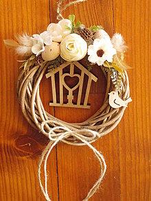 Dekorácie - Veľkonočný venček s klietkou a vtáčikom 18cm - 10440341_
