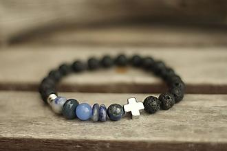 Šperky - Pánsky náramok mix blue a láva - 10438469_