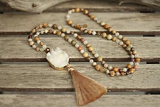 Náhrdelníky - Mala náhrdelník s drúzou a minerálmi jaspis, mesačný kameň, achát - 10440080_
