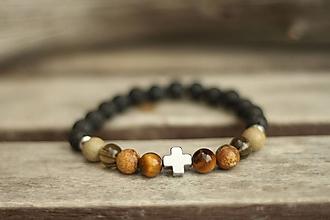 Šperky - Pánsky náramok mix a láva - 10440229_