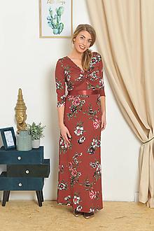Šaty - Anett Bohyňa - kvety ve škorici, vel. S / M - 10438656_