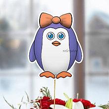 Dekorácie - Tučniak - zápich na tortu (mašlička) - 10440963_