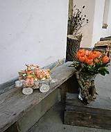 Dekorácie - Veľkonočná dekorácia so zajačikom na vozíku - 10444270_