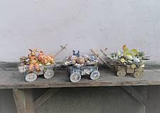 Dekorácie - Veľkonočná dekorácia so zajačikom na vozíku - 10444364_