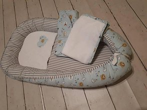 Textil - Hniezdo s doplnkami - medvedíky v azúrovej - 10172364_