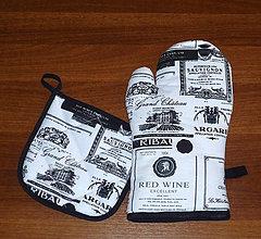 Úžitkový textil - chňapka rukavice pánská + malá chňapka v soupravě - 10444755_