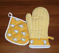 Úžitkový textil - chňapka rukavice + malá chňapka v soupravě - 10444781_