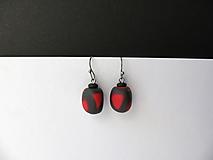 Náušnice - ,,Náušnice khaki-červené,, - 10444505_