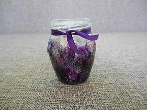 Svietidlá a sviečky - sklenený svietnik maľovaný - fialový - 10443053_