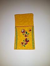 Úžitkový textil - Maľované vrecko na príbor - tmavo žltá, 12 x 24,5 cm - 10443411_