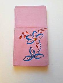 Úžitkový textil - Maľované vrecko na príbor - ružová, 12,5 x 24 cm - 10443352_