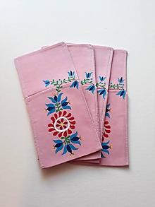Úžitkový textil - Maľované vrecko na príbor - ružové, 12 x 25 cm - 10443493_