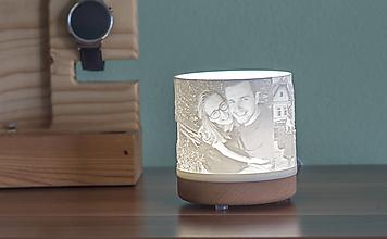 Svietidlá a sviečky - 3D foto lampa drevená USB - 10442856_