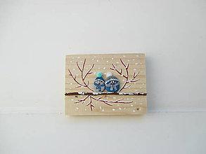 Tabuľky - Uzimené štebotavé vtačúrence - menšie, modrá - 10444571_