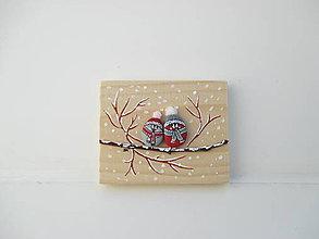 Tabuľky - Uzimené štebotavé vtačúrence - menšie, červená - 10444660_