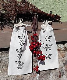 Úžitkový textil - Sada dvoch ľanových vrecúšok na bylinky, huby... - 10444934_