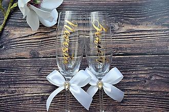Nádoby - Svadobné poháre Nevesta Ženích zlato biela - 10442806_