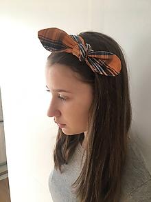 Ozdoby do vlasov - čelenka - horčičové káro - 10443668_