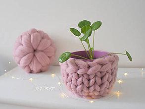 Dekorácie - Pletený obal na květináč - 10445329_