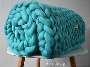 Úžitkový textil - Pletená merino deka 70x100 cm - extra jemná vlna - 10445367_