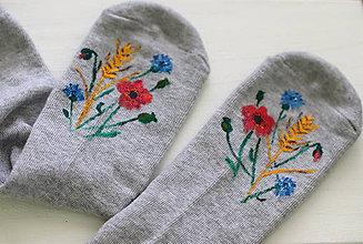 Obuv - Lúčne maľované ponožky - 10442298_