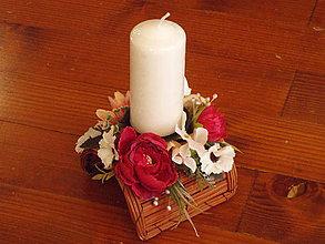 Dekorácie - Jarný aj celoročný poloblúkovitý svietnik so sviečkou - 10442308_