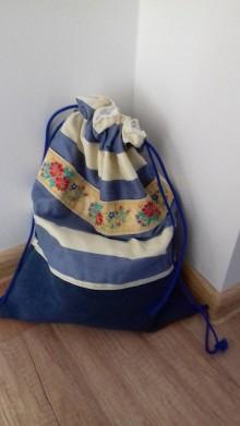 Batohy - Vak maxi prúžky s folk stuhou - 10445553_