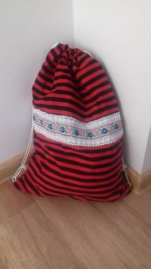 Batohy - Prúžkovaný batôžtek s folk stuhou a čipkou 2 - 10445783_