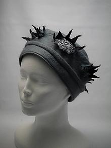 Čiapky - Dámska plstená čiapka- vločka šedá - 10446685_