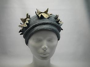 Čiapky - Plstená čiapka - vločka oceľovomodrá - 10446699_