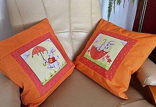 Úžitkový textil - jarný vankúšik oranžový - 10446007_