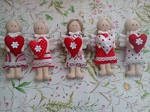 Dekorácie - Mini anjeliky pre radosť (Červená) - 10445802_