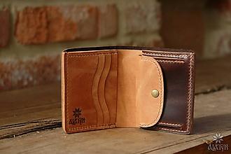 Peňaženky - Menšia kožená peňaženka IX. - 10448139_