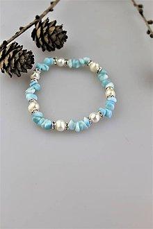 Náramky - larimar náramok s pravými perlami SUPERAKCIA! - 10448684_