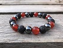 Šperky - Náramok - karneol, láva, hematit - 10445732_