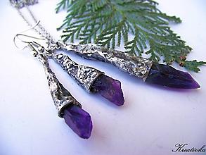 Sady šperkov - Temný úsvit.......sada (surový ametyst) - 10446084_