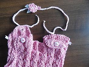 Detské oblečenie - dievčenské body letné s čelenkou - 10445987_