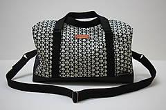 Kabelky - Cestovní taška Černé květy - 10445698_
