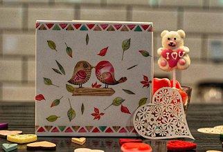 Papiernictvo - Leporelo 13x13 ,,Zaľúbené vtáčky,, - 10446144_
