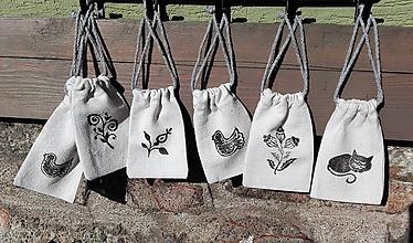 Úžitkový textil - Malé ľanové vrecká na bylinky a čaje 6ks - 10445535_
