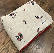 Textil - Minky deka ,,folk vtáčik,, - 10448708_