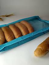Úžitkový textil - Vrecko na chlieb a pečivo - tyrkysové (1/2kg chlieb 21x33 cm) - 10448826_