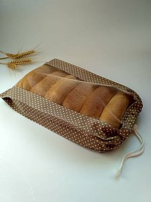 Úžitkový textil - Vrecúško na chlieb a pečivo - krémové s bodkami (1kg chlieb 23x42 cm) - 10448805_