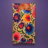 Úžitkový textil - Voskované vrecko - Kvety folk - 10447422_