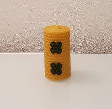 Svietidlá a sviečky - Sviečka so štvorlístkom pre šťastie - 10447219_