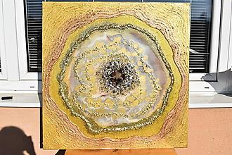 Obrazy - Gold champagne Agate slice - 10445562_