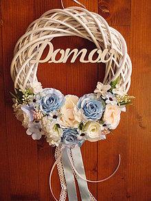 Dekorácie - Veniec modro-ivory jemne ružový s nápisom 33cm - 10448642_