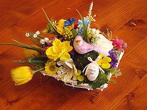 Dekorácie - Veľkonočná farebná dekorácia s vtáčikom na prútenom podklade - 10448658_