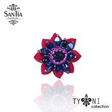 Prstene - Prsteň: Kvietok (Modro-ružový) - 10448625_